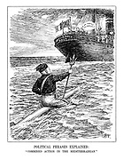 """Political Phrases Explained: """"Combined Action in the Mediterranean"""". (Benito Mussolini as Poseidon the God of the Sea, rides on a torpedo heading towards the British and French Anti-Piracy Pact merchant ship as they wonder """"Is he coming to join us?"""")"""