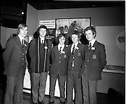03/01/1975.01/03/1975.3rd January 1975.The Aer Lingus Young Scientist Exhibition at the RDS, Dublin...Picture shows five students from Presentation College Cork. .