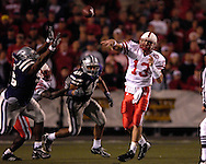 Nebraska quarterback Zac Taylor (13) throws down field against Kansas State at Bill Snyder Family Stadium in Manhattan, Kansas, October 14, 2006.  The Huskers beat the Wildcats 21-3.<br />