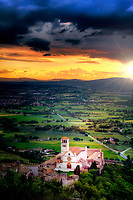 """Colorful Sunset Above the Papal Basilica of San Francesco di Assisi""…<br />