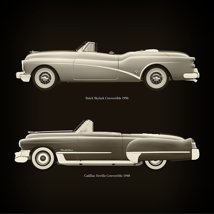 For the lover of old classic cars, this combination of a Buick Skylark Convertible 1956 and Cadillac Deville Convertible 1948 is truly a beautiful work to have in your home.<br /> The classic Buick Skylark Convertible and the beautiful Cadillac Devilleare among the most beautiful cars ever built.<br /> You can have this work printed in various materials and without loss of quality in all formats.<br /> For the oldtimer enthusiast, the series by the artist Jan Keteleer is a dream come true. The artist has made a fine selection of the very finest cars which he has meticulously painted down to the smallest detail. – –<br /> -<br /> <br /> BUY THIS PRINT AT<br /> <br /> FINE ART AMERICA<br /> ENGLISH<br /> https://janke.pixels.com/featured/buick-skylark-convertible-1956-and-cadillac-deville-convertible-1948-jan-keteleer.html<br /> <br /> WADM / OH MY PRINTS<br /> DUTCH / FRENCH / GERMAN<br /> https://www.werkaandemuur.nl/nl/shopwerk/Buick-Skylark-Cabriolet-1956-en-Cadillac-Deville-Cabriolet-1948/757005/132?mediumId=1&size=60x60<br /> –