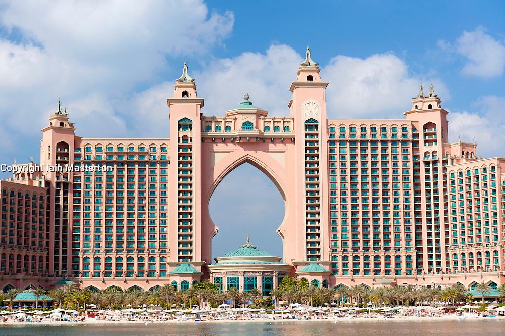 The Atlantis Hotel located on Palm Jumeirah in Dubai in United Arab Emirates