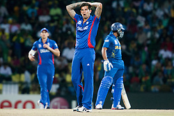 © Licensed to London News Pictures. 01/10/2012. Sri Lankan bowler Jade Dernbach with his hands on his heads after nearly getting a wicket during the T20 Cricket World super 8's match between England Vs Sri Lanka at the Pallekele International Stadium Cricket Stadium, Pallekele. Photo credit : Asanka Brendon Ratnayake/LNP