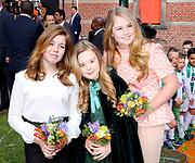 Koningsdag 2018 in Groningen / Kingsday 2018 in Groningen.<br /> <br /> Op de foto: Prinses Amalia, Ariane en Alexia  ///  Princess Amalia, Ariane and Alexia