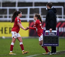 Carla Humphrey of Bristol City Women is repalced by Ellen Jones of Bristol City Women - Mandatory by-line: Ryan Hiscott/JMP - 30/01/2021 - FOOTBALL - Twerton Park - Bath, England - Bristol City Women v Brighton and Hove Albion Women - FA Womens Super League 1