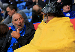 A Leicester City fan wears a Sou'wester ah heavy rain hits the King Power Stadium - Mandatory by-line: Paul Roberts/JMP - 09/09/2017 - FOOTBALL - King Power Stadium - Leicester, England - Leicester City v Chelsea - Premier League