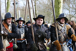 © Licensed to London News Pictures. 26/01/2020. London, UK. Members of the English Civil War Society reenactor the commemoration of the execution of Charles I, who was taken by the King's Army from St James Palace to the Banqueting House in Whitehall, for his execution on 30th January 1649. Photo credit: Dinendra Haria/LNP