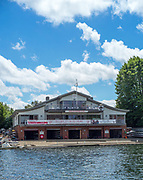 """Marlow, Bucks , United Kingdom, <br /> <br /> General View, GV, """"Marlow Bridge"""", """"Marlow Rowing Club"""", """"The Complete Angler Hotel"""", River Thames, Thames valley, """"Coaching Launches"""", """"Parked/Moored"""", under the Bridge, boat's racked, and """"storage"""" under the Road Bridge,<br /> <br /> Thursday,  15/06/2017, © Peter SPURRIER, ."""
