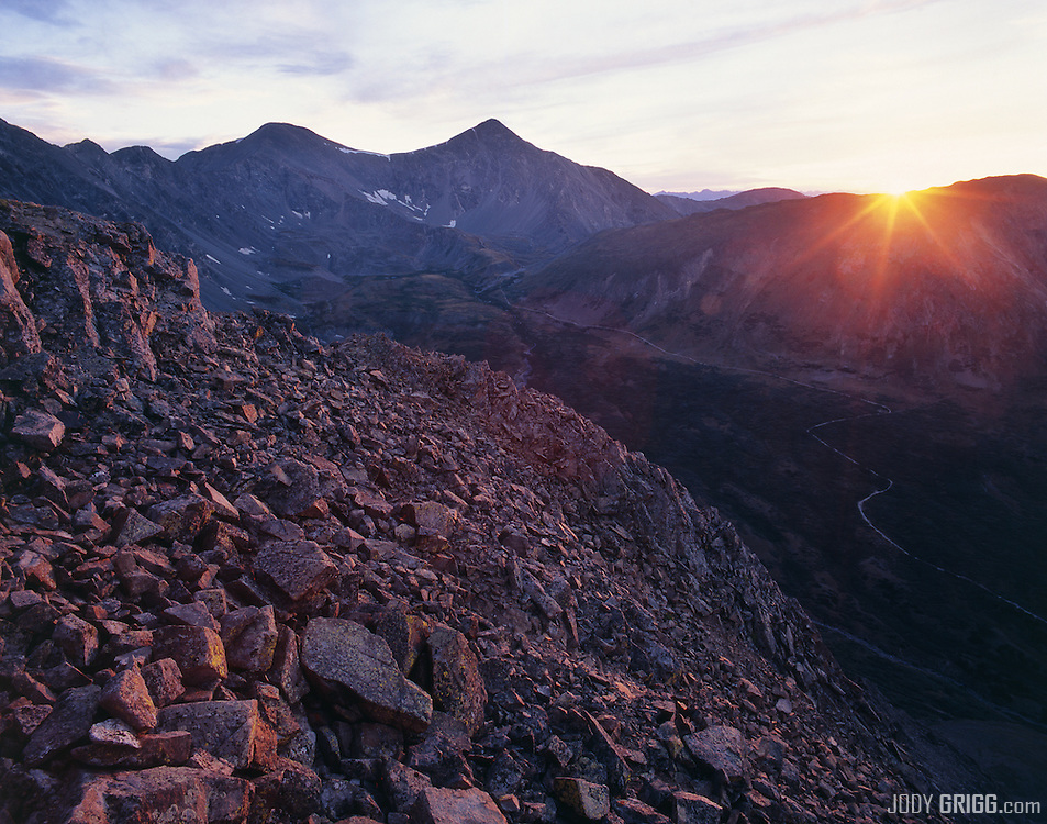 Grays Peak (L) and Torreys Peak (R) are peaks in the Front Range region of the Rocky Mountains in Colorado. Both peaks rise over fourteen thousand feet.