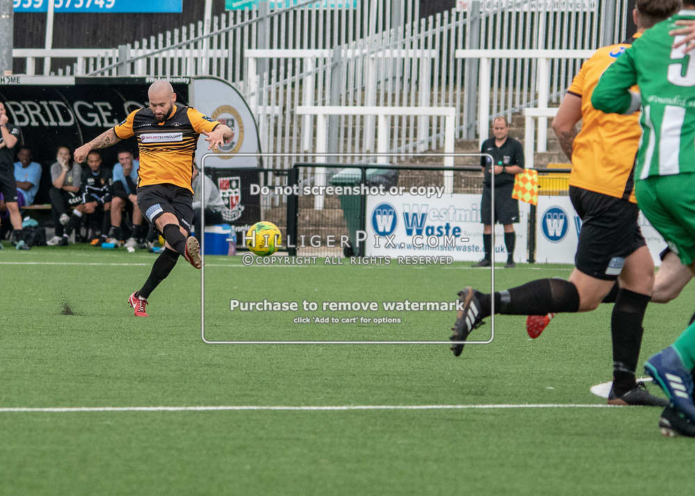 BROMLEY, UK - AUGUST 25: <br /> Karl Dent (Cray Wanderers) takes a free kick during the FA Cup Preliminary Round match between Cray Wanderers and Rusthall at Hayes Lane on August 25, 2018 in Bromley, UK. (Photo: Jon Hilliger / Cray Wanderers)