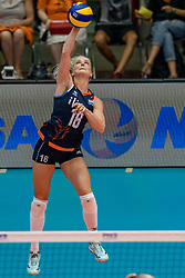 04-08-2019 ITA: FIVB Tokyo Volleyball Qualification 2019 / Netherlands, - Italy Catania<br /> last match pool F in hall Pala Catania between Netherlands - Italy for the Olympic ticket. Italy win 3-0 and take the ticket to the Olympics / Marrit Jasper #18 of Netherlands
