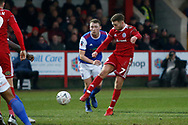 Shot by Accrington Stanley midfielder Jordan Clark (7)  during the The FA Cup 3rd round match between Accrington Stanley and Ipswich Town at the Fraser Eagle Stadium, Accrington, England on 5 January 2019.