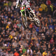 Ryan Villopoto, Monster Energy Kawasaki, in action on his way to victory in round 16 of the Monster Energy AMA Supercross series held at MetLife Stadium. The win clinched Villopoto his fourth consecutive 450SX Class Championship. 62,217 fans attended the event held for the first time at MetLife Stadium, New Jersey, USA. 26th April 2014. Photo Tim Clayton