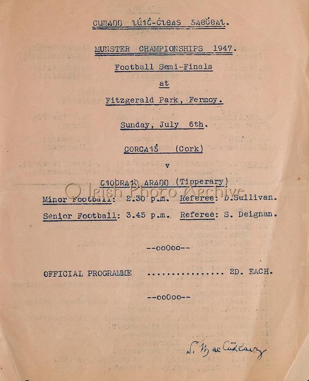 Munster Senior Football Championship - Semi-finals, .Cork v Tipperary,.06071947MSFCSF..06.07.1947, 07.06.1947, 6th July 1947, .