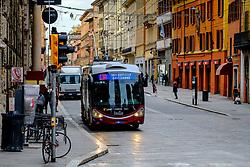 Early morning traffic in the Via Rizzoli, Bologna, Italy,<br /> <br /> (c) Andrew Wilson | Edinburgh Elite media