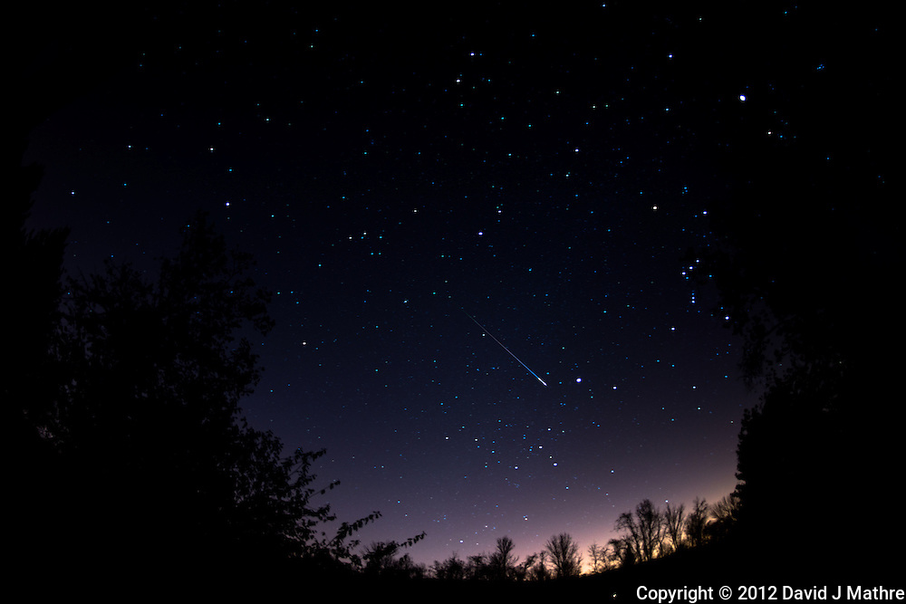 Late Fall Night Sky and Leonid Meteors Trail over New Jersey. Images taken with a Nikon D800 and 16 mm f/2.8 fisheye lens (ISO 100, 16 mm, f/2.8, 1 min).