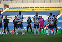 Brighton & Hove Albion and Manchester City players stand in silence in tribute to Jack Charlton <br /> <br /> Photographer David Horton/CameraSport<br /> <br /> The Premier League - Brighton & Hove Albion v Manchester City - Saturday 11th July 2020 - The Amex Stadium - Brighton<br /> <br /> World Copyright © 2020 CameraSport. All rights reserved. 43 Linden Ave. Countesthorpe. Leicester. England. LE8 5PG - Tel: +44 (0) 116 277 4147 - admin@camerasport.com - www.camerasport.com