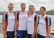 Caversham, Great Britain. GBR W4X. left to right, Vicky THORNLEY, Frances HOUGHTON, Mel WILSON and Beth RODFORD.  2012 GB Rowing World Cup Team Announcement Wednesday  04/04/2012  [Mandatory Credit; Peter Spurrier/Intersport-images]