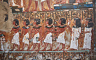 Ancient Egyptian wall paintings of the Tomb of Iti and Neferu, Mourning Scene, Thebes, First Intermediate Period (2118 – 1980BC). Egyptian Museum, Turin. Schiapelli excavations cat 1435.<br /> <br /> The upper two registers show a procession of men and women converging on a unidentifiable element, no destroyed.<br /> These tempera paintings were on a crude mud and straw plaster and were of typical Old Kingdom tombs showing ritual offering scenes. The tomb was partly cut into rock with mud brick walls and vaults. The facade of the tomb had 16 columns looking over a courtyard sloping towards the valley. .<br /> <br /> If you prefer to buy from our ALAMY PHOTO LIBRARY  Collection visit : https://www.alamy.com/portfolio/paul-williams-funkystock/ancient-egyptian-art-artefacts.html  . Type -   Turin   - into the LOWER SEARCH WITHIN GALLERY box. Refine search by adding background colour, subject etc<br /> <br /> Visit our ANCIENT WORLD PHOTO COLLECTIONS for more photos to download or buy as wall art prints https://funkystock.photoshelter.com/gallery-collection/Ancient-World-Art-Antiquities-Historic-Sites-Pictures-Images-of/C00006u26yqSkDOM