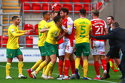 Matt Crooks of Rotherham United grabs the throat of Jordan Hugill of Norwich City during a tussle - Mandatory by-line: Ryan Crockett/JMP - 17/10/2020 - FOOTBALL - Aesseal New York Stadium - Rotherham, England - Rotherham United v Norwich City - Sky Bet Championship