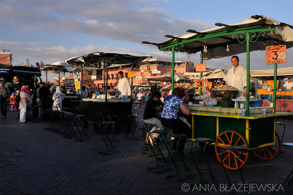 Morocco, Marrakesh. Snail stands in Djemaa el-Fna Square.