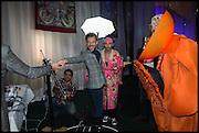 MATTHEW WILLIAMSON; lyall hakaraia  DANIEL LISMORE,, Andrew Logan's Alternative Miss World 2014. Shakespeare's Globe, London. 18 October 2014.