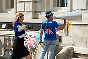 Anti Brexit campaigner Steve Bray protesting outside the Cabinet office in Whitehall as Ministers hold a Brexit Cabinet meeting on 19th August 2019 in London, United Kingdom.