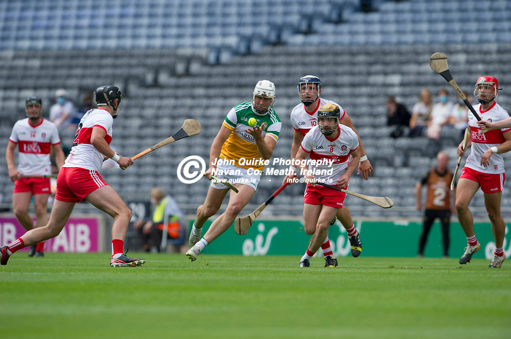 01–08-21.<br /> Derry v Offaly - Christy Ring Cup Final at Croke Park.<br /> Jason Sampson, Offaly in action against Derry in the Christy Ring Cup Final.<br /> Photo: the John Quirke / www.quirke.ie<br /> ©John Quirke Photography, 16 Proudstown Road, Navan. Co. Meath. (info@quirke.ie / 046-9028461 / 087-2579454).