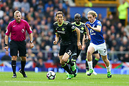 Nemanja Matic of Chelsea makes a break while being chased by Tom Davies of Everton. Premier league match, Everton v Chelsea at Goodison Park in Liverpool, Merseyside on Sunday 30th April 2017.<br /> pic by Chris Stading, Andrew Orchard sports photography.