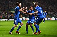 05/11/15 UEFA EUROPA LEAGUE GROUP STAGE<br /> CELTIC v MOLDE FK<br /> CELTIC PARK - GLASGOW<br /> Molde's Daniel Hestad (left) celebrates his goal with his team-mate