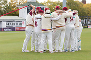 Northants Huddle before the start of the Leicestershire 2nd innings during the Specsavers County Champ Div 2 match between Leicestershire County Cricket Club and Northamptonshire County Cricket Club at the Fischer County Ground, Grace Road, Leicester, United Kingdom on 12 September 2019.