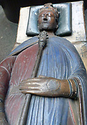 Plaster cast (with restored gilding).  Tomb effigy, in gilt bronze, of Henry III of England (b 1206; d 1271 in the Confessor's chapel, Westminster Abbey, by William Torel, c 1292.