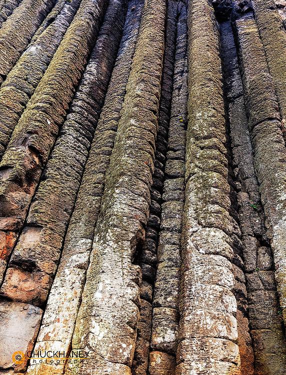 Columnar basalt at the Giant's Causeway in County Antrim, Northern Ireland