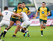 Australia second-row Lukhan Lealaiaulolo-Tui drives into the England defence during the World Rugby U20 Championship  match England U20 -V- Australia U20 at The AJ Bell Stadium, Salford, Greater Manchester, England on June  15  2016, (Steve Flynn/Image of Sport)