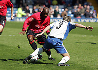 Fotball<br /> England 2004/2005<br /> Foto: SBI/Digitalsport<br /> NORWAY ONLY<br /> <br /> Bury v Swansea City, Gigg Lane Stadium, Bury. <br /> Coca Cola League Two, 07/05/2005. <br /> <br /> Goal scorer, Adrian Forbes takes on Tom Kennedy