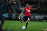 Matteo Darmian of Manchester United in action. EFL Carabao Cup 4th round match, Swansea city v Manchester Utd at the Liberty Stadium in Swansea, South Wales on Tuesday 24th October 2017.<br /> pic by  Andrew Orchard, Andrew Orchard sports photography.