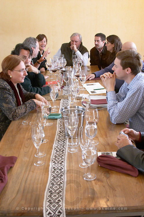 Guests at the lunch table Bodega Del Anelo Winery, also called Finca Roja, Anelo Region, Neuquen, Patagonia, Argentina, South America