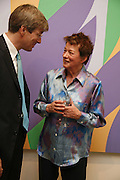 Timothy Taylor and Bridget Riley,  Bridget Riley exhibition. Timothy Taylor Gallery. 6 June 2006. ONE TIME USE ONLY - DO NOT ARCHIVE  © Copyright Photograph by Dafydd Jones 66 Stockwell Park Rd. London SW9 0DA Tel 020 7733 0108 www.dafjones.com