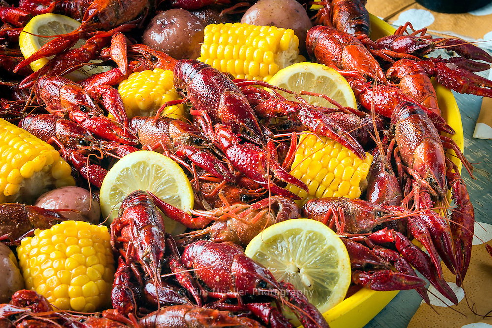 Boiled crawfish with corn and potatoes in a tray and cold Covington Brewhouse beer.