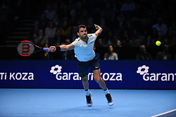 November 17, 2017 - London, England, United Kingdom - GRIGOR DIMITROV of Bulgaria plays a forehand in his Singles match against Pablo Carreno Busta of Spain during day six of the Nitto ATP World Tour Finals at O2 Arena. Grigor Dimitrov of Bulgaria wins his Singles match 6-4, 6-1  against Pablo Carreno Busta of Spain on day six of Nitto ATP World Tour Finals at the O2 Arena. (Credit Image: © Alberto Pezzali/NurPhoto via ZUMA Press)