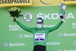 Sam BENNETT (IRL) pictured celebrating on the podium as he retains the points classification green jersey at the end of stage 19 of Tour de France cycling race, over 166,5 kilometers (103.4 miles) with start in Bourg-en-Bresse and finish in Champagnole, France,Friday, September 18, 2020.//JEEPVIDON_1615013/2009191626/Credit:jeep.vidon/SIPA/2009191634 / Sportida