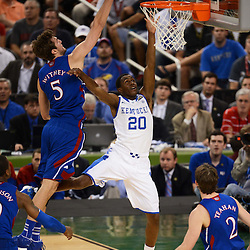 Apr 2, 2012; New Orleans, LA, USA; Kentucky Wildcats guard Doron Lamb (20) has his shot blocked by Kansas Jayhawks center Jeff Withey (5) during the first half in the finals of the 2012 NCAA men's basketball Final Four at the Mercedes-Benz Superdome. Mandatory Credit: Derick E. Hingle-US PRESSWIRE