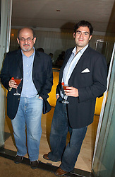 Left to right, Writer SALMAN RUSHDIE and his son ZAFAR RUSHDIE at a party to celebrate the launch of Amy Sacco's book 'Cocktails' held at Sanderson, 50 Berners Street, London W1 on 10th July 2006.<br />
