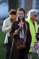 A women stands proud with her Union Jack flag before Jenny Jones' arrival - Photo mandatory by-line: Dougie Allward/JMP - Tel: Mobile: 07966 386802 03/03/2014