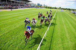 Zorion ridden by Kevin Manning (bottom) goes on to win the John R Fitzpatrick Agricultural Contractor Handicap during Derrinstown Stud Derby Trial Day at Leopardstown Racecourse, Dublin.