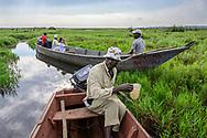 Touristen auf einer Bootstour in der Mabamba Bay, Lake Victoria, Uganda<br /> <br /> Tourists on a boat tour in Mabamba Bay, Lake Victoria, Uganda