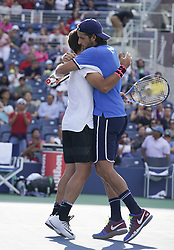 September 7, 2017 - New York, New York, United States - New York, NY USA - September 7, 2017: Feliciano Lopez & Marc Lopez celebrate victory against Bob & Mike Bryab at US Open Championships at Billie Jean King National Tennis Center  (Credit Image: © Lev Radin/Pacific Press via ZUMA Wire)
