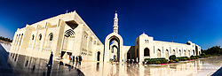 An iPhone6 panoramic image of The Great Mosque of Sultan Qabus, in the quarter of Bawshar. Images from the MSC Musica cruise to the Persian Gulf, visiting Abu Dhabi, Khor al Fakkan, Khasab, Muscat, and Dubai, traveling from 13/12/2015 to 20/12/2015.