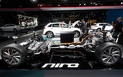 View of Engine and chassis of new Kia Niro crossover hybrid vehicle at Paris Motor Show 2016