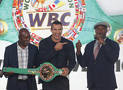 October 1, 2018 - Kiev, Ukraine - (L-R) Ex boxing champion of the World Evander Holyfield,Ukrainian heavyweight boxing champion Vladimir Klitschko and ex boxing champion Lennox Lewis pose during awarding of Ukrainian heavyweight boxing champion Vladimir Klitschko by the belt of the honorary WBC world champion, at an official opening of the 56th WBC ( World Boxing Council ) Convention in Kiev, Ukraine, 01 October, 2018. The 56th WBC Convention takes place in Kiev from September 30 to October 05. The event participate of boxing legends Lennox Lewis, Evander Holyfield, Eric Morales, Alexander Usik, Vitali Klitschko and about 700 congress participants from 160 countries. (Credit Image: © Str/NurPhoto/ZUMA Press)